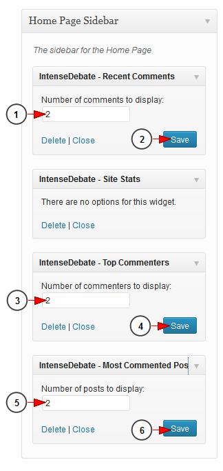 activate wordpress widget intensedebate