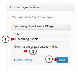 wordpress widget upcoming events